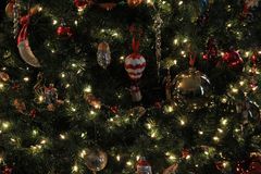 用各种各样的装饰品装饰的大圣诞树, twinking点燃在分支中 库存照片