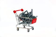 用合板钉钉合在购物车的灰色 免版税库存照片