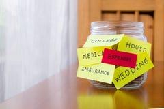 费用和orther在储款金钱瓶子标记 免版税库存照片