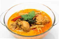 用咖哩粉调制与笋的鸡,泰国食物 免版税库存照片