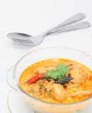 用咖哩粉调制与笋的鸡,泰国食物 免版税图库摄影