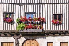 用喇叭花的装饰的一个老房子的Windows 免版税图库摄影