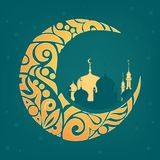 用回教社区日Eid Al的Fitr穆巴拉克zentangle装饰的新月形月亮 库存照片