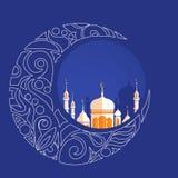 用回教社区日Eid Al的Fitr穆巴拉克zentangle装饰的新月形月亮 免版税库存图片