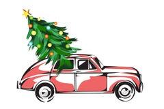 用圣诞树装载的减速火箭的汽车被隔绝在白色 库存例证