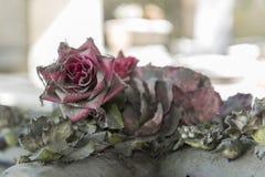 用在一个坟茔的蜘蛛网盖的塑料玫瑰在蒙马特公墓 库存照片