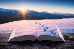 用在书的雪盖的山谷 免版税库存照片