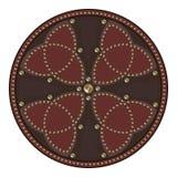 用在凯尔特样式的螺柱装饰的苏格兰争斗盾 库存照片