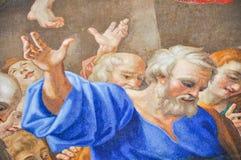 用在圣伯多禄大教堂的马赛克做的绘画,梵蒂冈 免版税库存图片