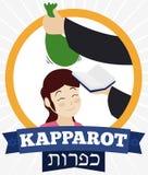 用在女孩头,传染媒介例证的金钱袋子做的Kapparot仪式 向量例证