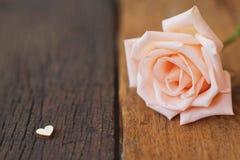 用在木纹理背景,软的口气华伦泰的微型红心形象装饰的美丽的白色新鲜的潮湿玫瑰色花 图库摄影