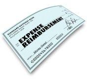 费用在检查退款付款的报告词 免版税库存照片