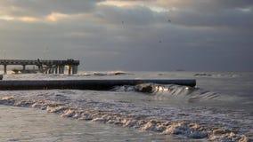 用在海滩的冰盖的防堤 股票视频