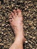 用在海滩的沙子包括的男性脚 免版税库存照片