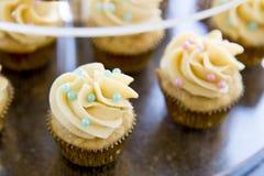 用在清楚的有排列的盘子关闭的深蓝和桃红色糖果小珠装饰的香子兰豆微型杯形蛋糕 库存照片