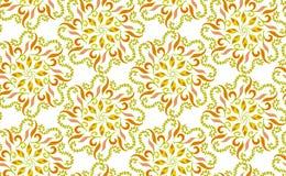 用在温暖的颜色的圆花卉装饰形状做的无缝的样式 也corel凹道例证向量 免版税库存图片