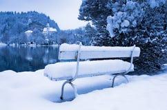 用在湖的雪盖的浪漫白色长凳在斯洛文尼亚阿尔卑斯流血 免版税库存图片