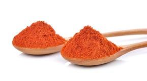 用在白色的红色辣椒辣椒粉粉末盖的木匙子 免版税库存照片