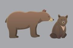 用在白色背景隔绝的不同的动画片熊的汇集 传染媒介broun和黑美国熊 设置野生生物 皇族释放例证