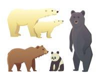 用在白色背景隔绝的不同的动画片熊的汇集 传染媒介broun和黑美国熊 设置野生生物 向量例证