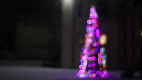 用在雪的色的光立场装饰的圣诞树 股票录像
