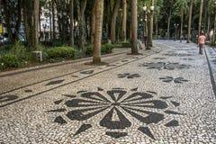 用在OsA将军³里约广场的路面的葡萄牙石头做的马赛克 免版税图库摄影
