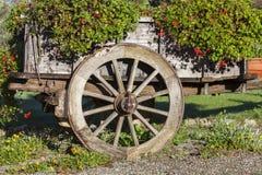 用夏天装饰的木推车无盖货车开花  免版税库存照片