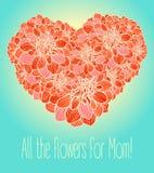用大丽花花做的花卉心脏  库存照片