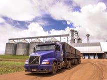 用大豆装载的卡车 免版税库存照片