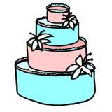 用奶油和lilie装饰的一块多有排列的欢乐白蛋糕 免版税库存图片