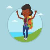 用她的手享受风景的背包徒步旅行者 向量例证