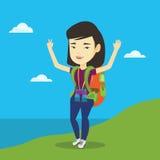 用她的手享受风景的背包徒步旅行者 库存例证