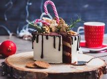用姜饼人装饰的蛋糕 图库摄影