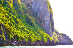 用密林和岩石盖的海景在巴拉望岛附近菲律宾海岛  库存图片