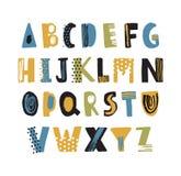 用小点和杂文装饰的手拉的拉丁字体或行家英语字母表 被安排的五颜六色的织地不很细信件 向量例证