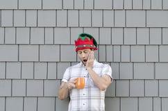 用尽了咖啡在圣诞节时间 免版税库存图片