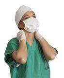 用尽的女性医生 库存图片