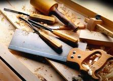 用工具加工木材加工 免版税库存图片