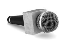 用工具加工白色的背景重要大声的话筒 被隔绝的3d例证 免版税库存图片