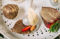 用巧克力叶子和糖果装饰的草莓 图库摄影