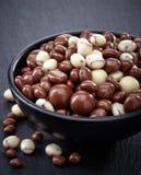 用巧克力和坚果盖的葡萄干 免版税库存图片