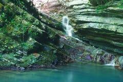 用常春藤和青苔盖的峭壁与流动一点瀑布 免版税库存图片