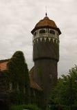 用常春藤盖的老砖水塔 免版税图库摄影