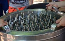 用干冰被放入管和做的汁液泰国 免版税库存图片