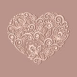 用弗洛尔装饰的心脏标志的剪影 免版税图库摄影