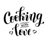 用心脏烹调充满在黑色的爱装饰的字法隔绝在白色背景 库存照片