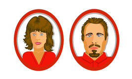 用户两个象站点或社会网络的 红色口气 蓝色口气 库存图片