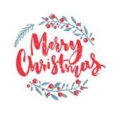 用手拉的分支装饰的圣诞快乐文本用红色莓果 贺卡设计元素 红色画笔 免版税库存图片