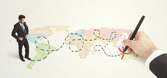用手被画的商人看地图的和路线 库存照片