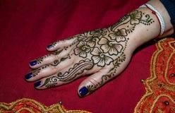 用无刺指甲花装饰的人的手的图片 库存照片
